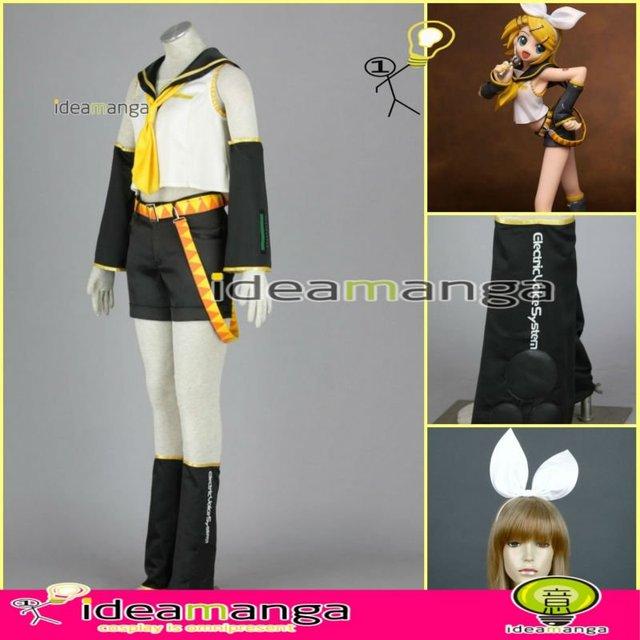 [ideamanga]Manga Amime V+ VOCALOID  Kagamine Rin girl's Cosplay Costume Female halloween party dress Any Size