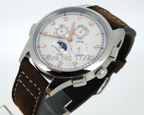 ФОТО 44mm Parnis white Dial Automaitc Chronometer multi-funtion mens world watch 248B