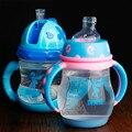 Alta qualidade potável cup com palha lidar com crianças sippy xícaras crianças bebendo chaleira à prova de fugas garrafa de leite