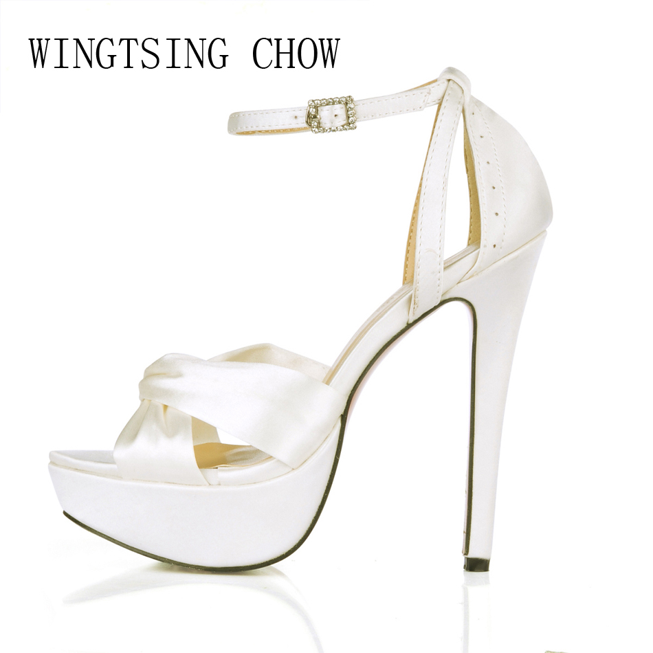 2016 New Ivory Satin Elegant Wedding Party Women's Shoes Open Toe Stiletto Heel Dating Platform Sandals with Buckle 3463SL-b1 free shipping ep2107 ivory women s open toe stiletto high heel satin flowers pearls bridal wedding sandals