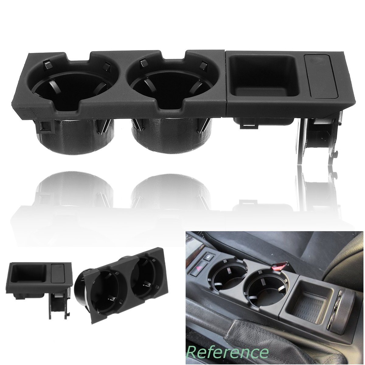 Black Double Hole Car Vehicle Front Center Console Storage font b Box b font Coin Cup