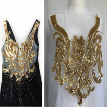 SASKIA 1Pair Gold Sequin Neckline Flower Mesh Embroidery Patches Bridal African Lace Sewing Fabric Applique Clothing Dress Diy