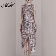 Max Spri 2019 New Sexy O Neckline Dress Sleeveless Leopard Print Asymmertrical Hemline Sashes Midi Causal Style