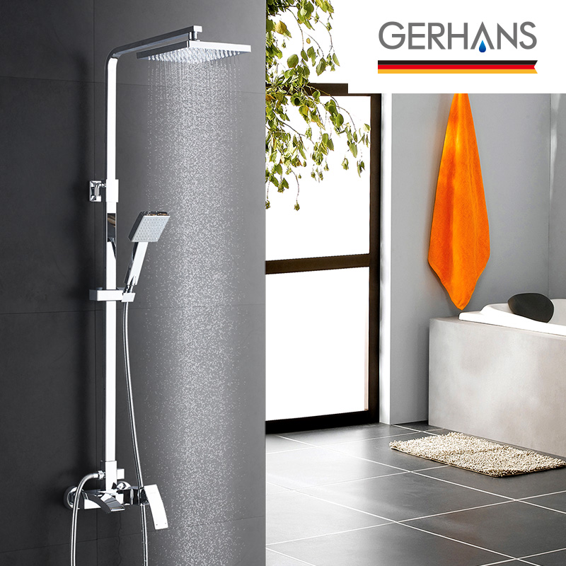 GERHANS Edithedge Luxury Rain Bathroom Water Mixer Shower Set Modern Stainless Steel Shower Bathtub Shower Faucet
