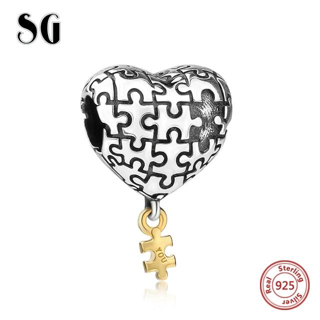 Di puzzle del cuore di amore Pendenti e Ciondoli Perline Argento 925 il mio cuore è completo con voi Fit originale Monili Dei Braccialetti di pandora Per La ragazza regali per bambini
