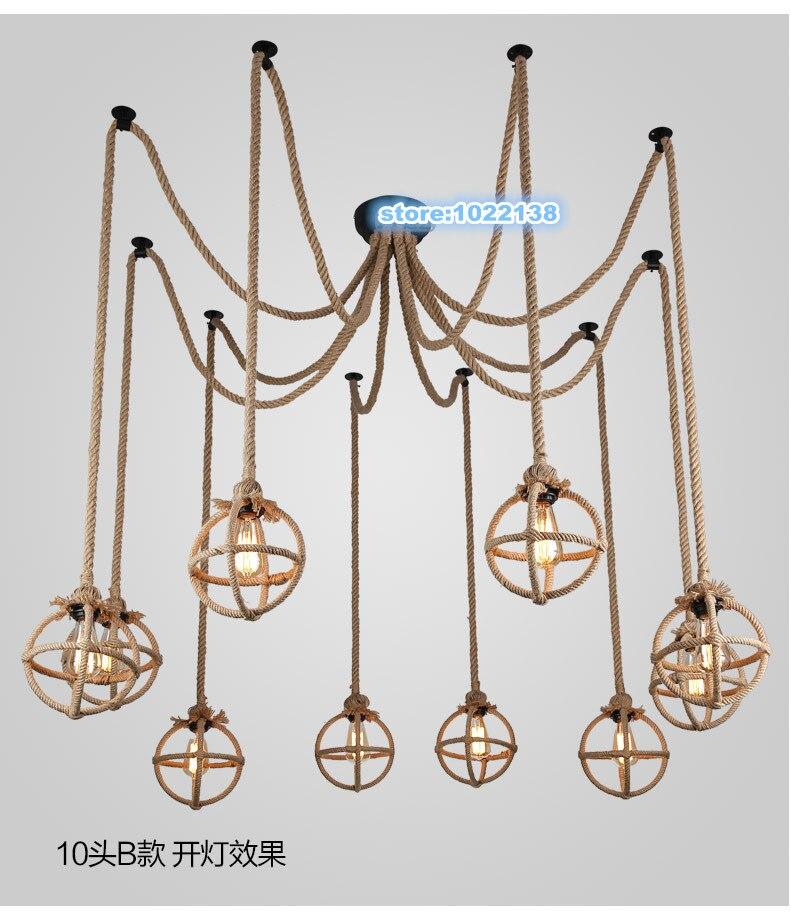 Vintage Industrial American Style Retro Spider Chandelier Hemp Rope Pendant Lamp For living Dinning Coffee Bar restaurant Decor декоративні лампи із дерева у стилі бра