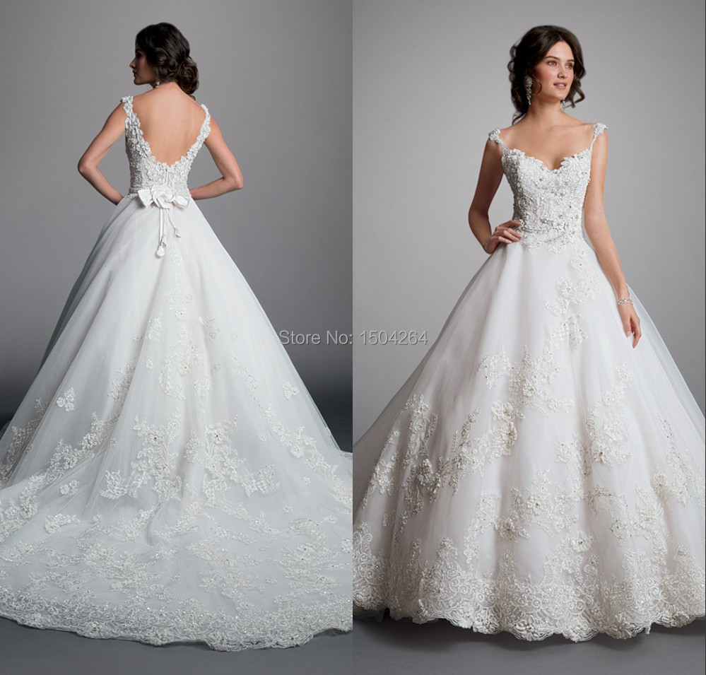 Spaghetti Straps Ball Gown Wedding Dresses 2015 Chapel Train Wedding ...
