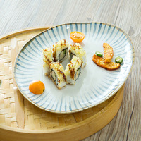 Flat Plate Pottery Food Serving Dish Japanese Style Sushi Plate Irregular Dinnerware Hot Sale Steak Tray Breakfast Plate 1pcs