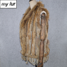 2019 Hot Sale Lady Winter Genuine Real Rabbit Fur Vest Women Knitted Real Rabbit Fur Gilet Brand Natural Rabbit Fur Waistcoat cheap Real Fur Single Breasted Double-faced Fur REGULAR Striped Sleeveless Slim My fur-032102 doakxol With Raccoon Dog Fur Collar