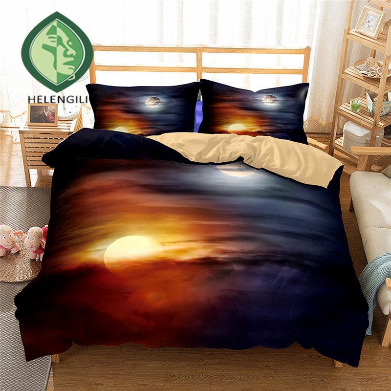 HELENGILI 3D Bedding Set Yin Yang Print Duvet Cover Set Lifelike Bedclothes With Pillowcase Bed Set Home Textiles #2-09