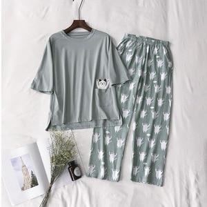 Image 3 - 2019  New Women Pajama Set Soft Cat Cartoon Printing Pijama Home Pyjamas Ladies Cotton Pyjama Set Sleepwear