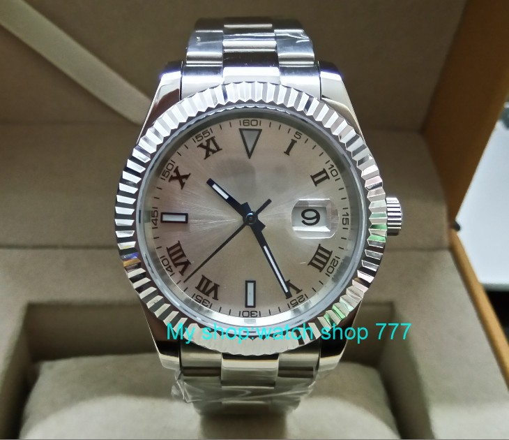 41MM PARNIS white dial Automatic Self-Wind movement Sapphire Crystal men