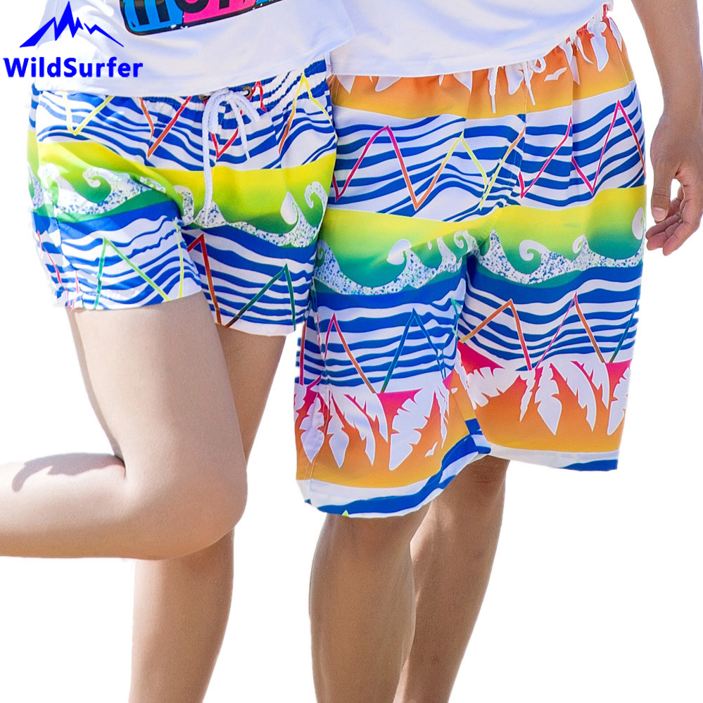 Mens Swim Trunks Quick Dry Goldfish Bubble Flowers Couples Beach Board Shorts Beachwear with Pockets