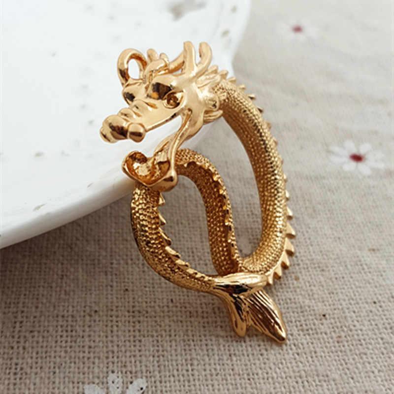 Di alta Qualità 1 PZ Argento Antico di Fascini D'oro Drago Cinese Pendenti di Fascini Per La Collana Per I Monili di Diy Che Fanno 35mm * 45mm