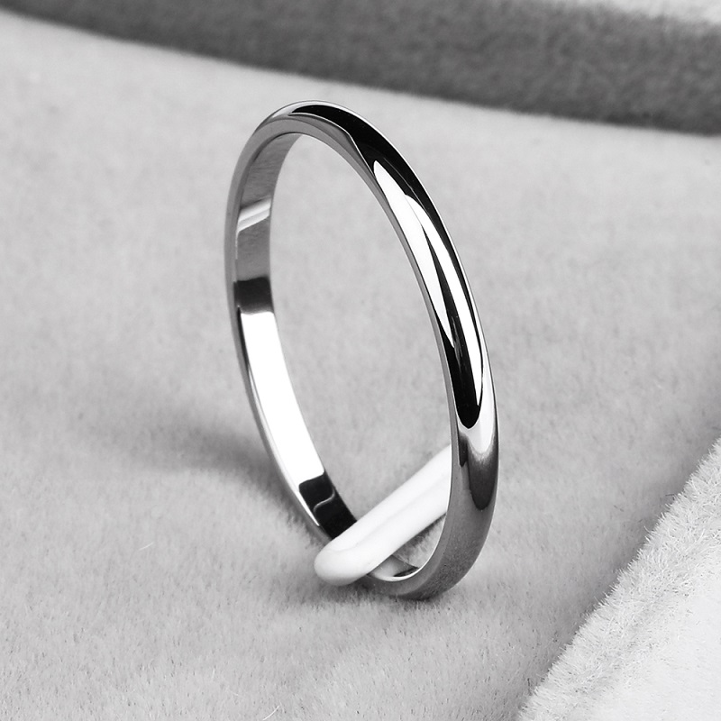 Ramos  2mm titanium steel tricolor combination ring simple smooth fashion ring for a woman or man wedding gift 1