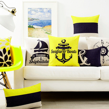 Nordic Yellow Blue Anchor Geometry Abstract Pillow Cover Home Decorative Pillows Linen Pillow Case Office Sofa Cushion Cover