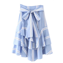 New Arrival Women Summer Bow Tie Waist Layered Ruffle Skirt Striped Long Skirt Women High Waist Elegant Blue Skirt XHSD-3084