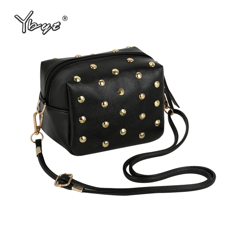 YBYT brand 2017 new mini simple rivet PU leather women casual fashion shoulder crossbody bag hotsale elegant ladies evening bags ybyt brand 2017 new fashion simple solid zipper long women standard wallets hotsale ladies pu leather coin purses card package