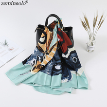 130*130cm 2019 Luxury Brand Scarves Butterfly Printed Silk Scarf For Women Headband Twill  Large Square Female Shawls