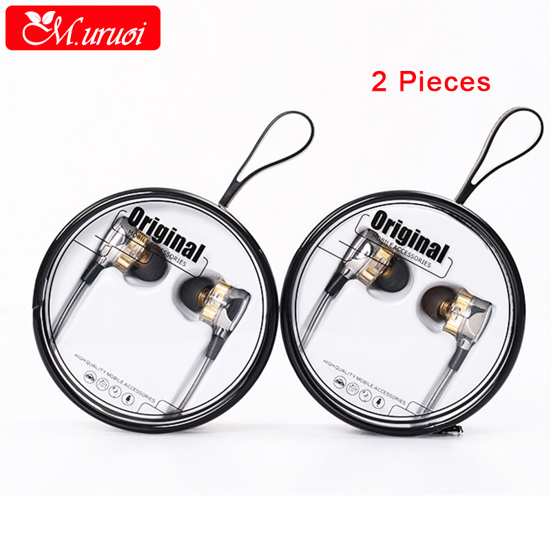 M.uruoi 1 Combo (2 pieces) 4D Stereo Surround Professional Noise Cancelling HIFI Earbuds With Mic Headset For iPhone Samsung insermore active noise cancelling headphones wired bass stereo surround headset with mic flight headband for iphone xiaomi iq 3
