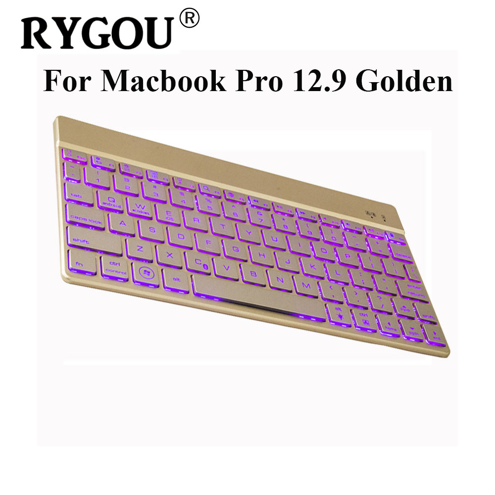 RYGOU For Apple iPad Pro 12.9 inch 7 Colors Backlight Backlit Ultrathin Aluminum Wireless Bluetooth Keyboard for ipad pro 9.7 ultrathin wireless keyboard for ipad air bluetooth keyboard with 7 colors backlight backlit magnetic rotating slot smart cover