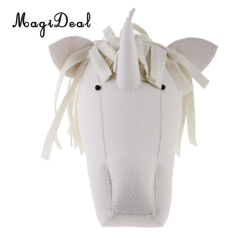 MagiDeal Novelty Creative 3D Felt Unicorn Animal Head Wall Mounted Kids Gift Room Hanger for Childrens Bedrooms Playrooms Decor