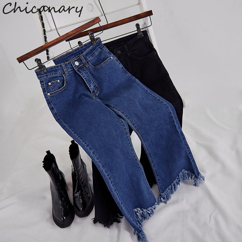 Chicanary High Waist Women Raw Cut Cropped Flared Jeans Women Elastic Ankle length Denim Pants