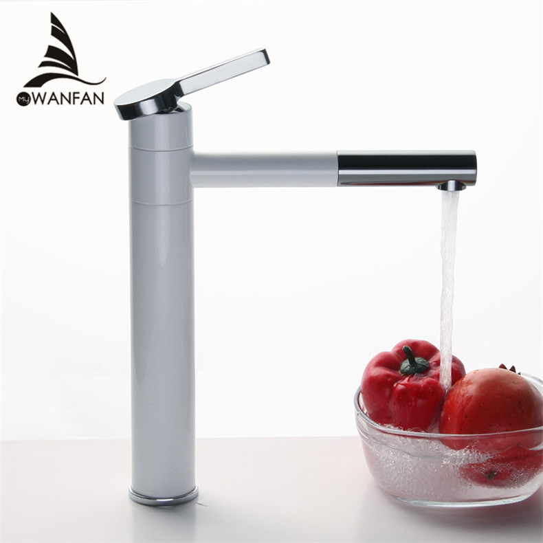 Basin Mixer Tap 360 Degree Rotate Type Basin Faucet White and Silver chrome Finish Bathroom Faucets