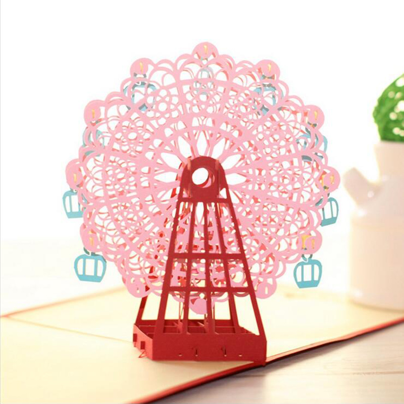 Fashion 3d Handmade Ferris Wheel Origami Greeting Cards Design 3D Pop Up Laser Cut Post Birthday Valentine In Invitations From