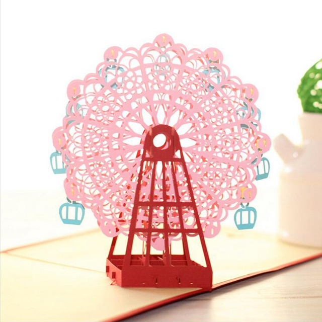 fashion 3d handmade ferris wheel origami greeting cards design 3d pop up laser cut post cards - 3d Greeting Cards