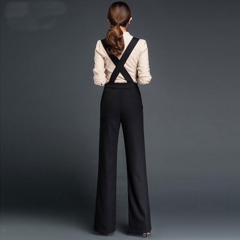 548b505678bda2 € 72.08 |Earoomze Chic Femmes de Combinaisons Pantalon De Mode Femme Mince  Salopette Noir Large Jambe Pantalon Lady Travail Robe Pantalon Plus ...