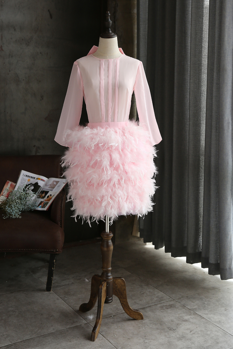 Custom Made Feathers Short Prom Dresses Long Sleeves Straight ...