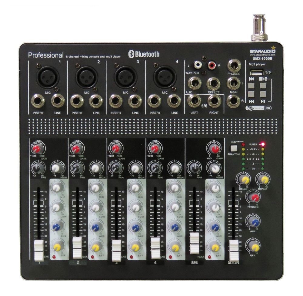 STARAUDIO Pro Stage DJ Club KTV 6 Channel Mixer Mixing Console w/ USB Bluetooth MP3 For Speaker and Microphone SMX-6000B