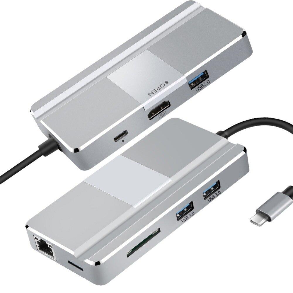 Nouveau YC217 Type de moyeu USB C vers HDMI USB 3.0 RJ45 TF adaptateur de lecteur de carte pour MacBook Huawei P20 Pro