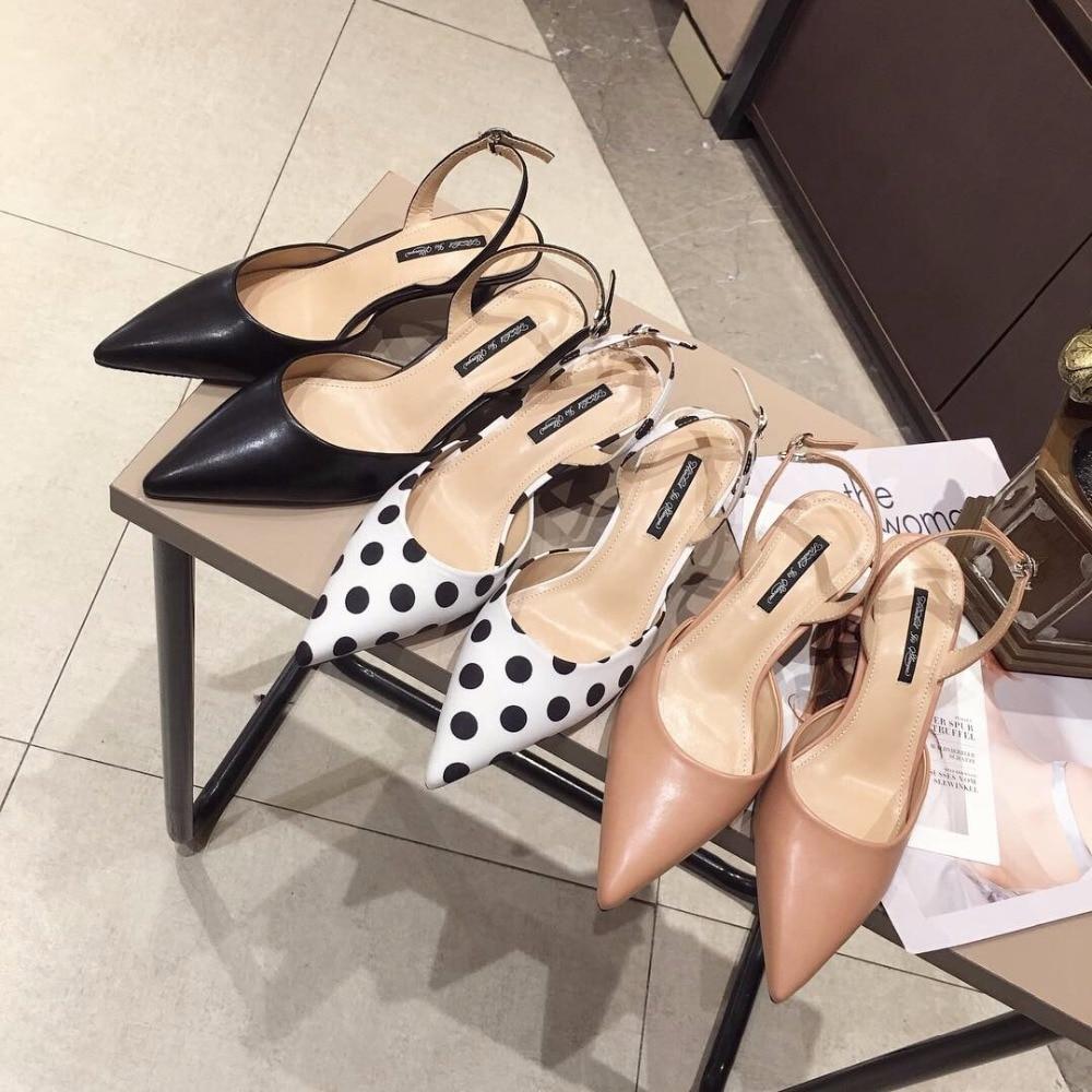 Polka Dots Sandals Women Thin High Heels Slippers Back Strap Sandalis Summer Shoes Ladies Beach Slippers Women Wedges Flipflops
