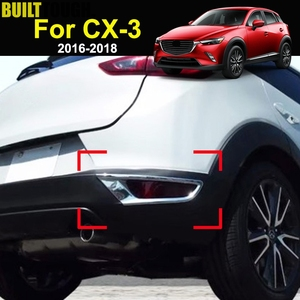 For Mazda CX-3 CX3 2016 2017 2018 Chrome Rear Reflector Fog Light Lamp Foglight Cover Trim Bumper Molding Frame Bezel Decoration(China)