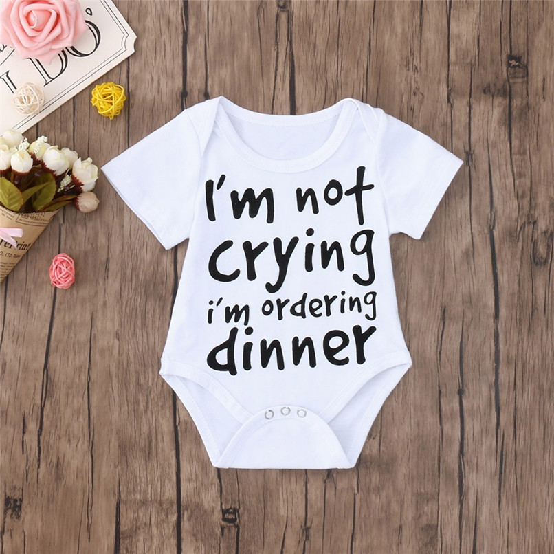 Summer Baby Clothes Babys Romper Newborn Toddler Infant Baby Boy Girl Letter Print Short Sleeve Jumpsuit Romper Clothes JE13#F (1)