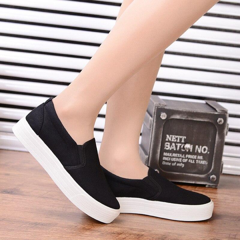 Femmes Blanc Coupe Petit Chaussures Des blanc bas Plat Noir Sport À Sauvage De Épaisses Nouveau Semelles Toile qH6xwRnn