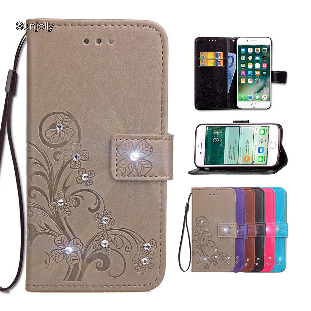 Rhinestone Leather Case Flip Wallet Card Stand Cover coque fundas for LG G3 G4 G5 G6 Stylus2 Ls775/Plus D690 Ls770 RAY Spirit(China)