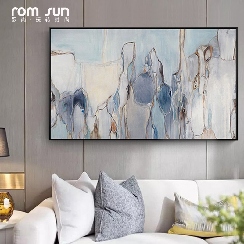 Abstract Canvas Painting Grey Blue Flowing Color Poster ...