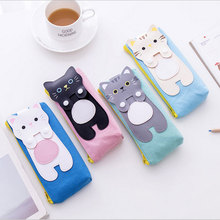 1X Creative Cats cartoon canvas bag capacity pen cosmetic students pencil case kawaii school office stationer supplies