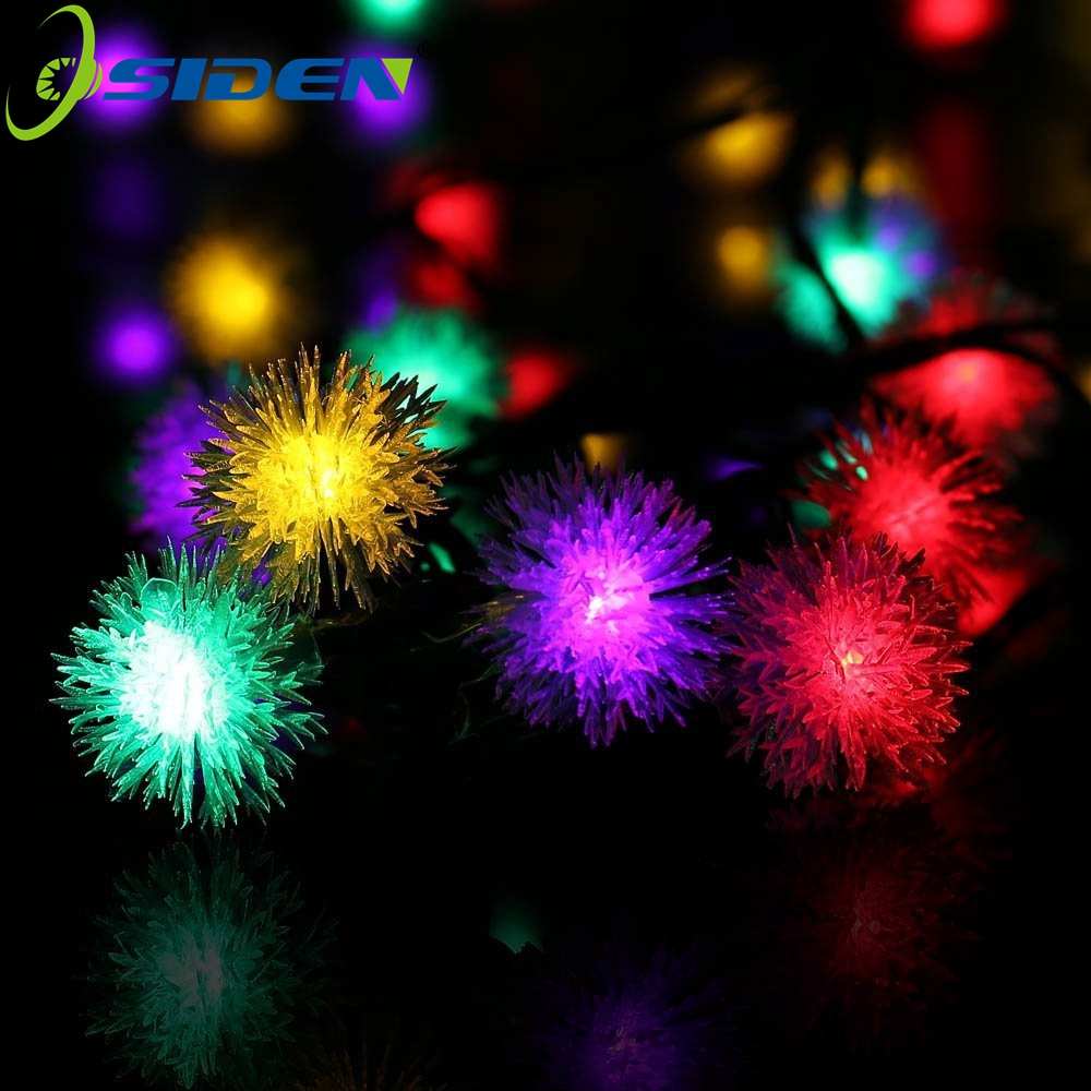 OSIDEN 5M 20 LED Furry Ball RGB Edelweiss Snowflake Led String Light,220V/110V Colorful Christmas Outdoor Led String Light