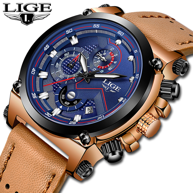 LIGE Mens Watches Top Brand Luxury Quartz Clock Sports Watch Men Leather Waterproof Military Camping Watches Relogio MasculinoLIGE Mens Watches Top Brand Luxury Quartz Clock Sports Watch Men Leather Waterproof Military Camping Watches Relogio Masculino