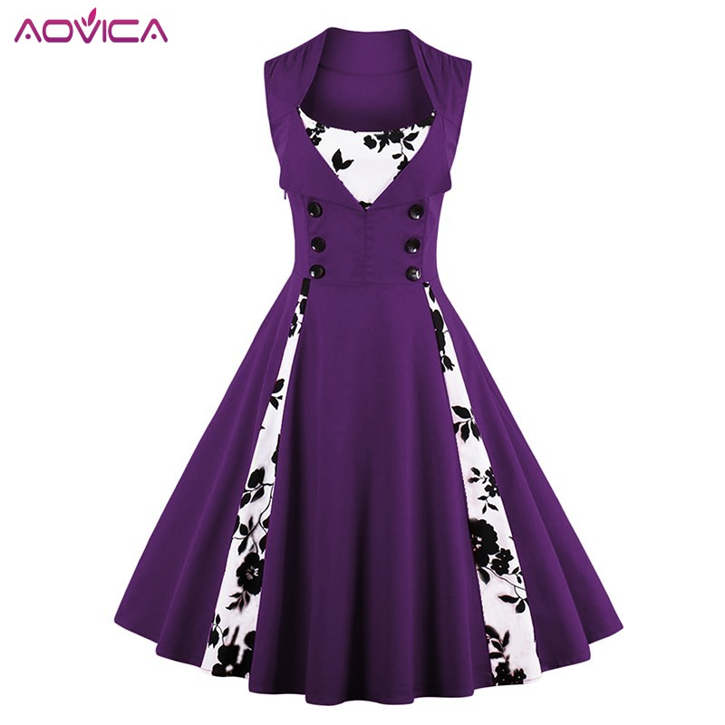 4XL 5XL Plus Size Women Robe Pin Up <font><b>Dress</b></font> Retro <font><b>Vintage</b></font> <font><b>1950s</b></font> <font><b>60s</b></font> Rockabilly Swing Summer female <font><b>Dresses</b></font> Elegant Tunic Vestidos image