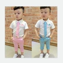 Retail! Hot 2016 Children Suits for Boys Brand Kids Summer Weddings Cotton shirt tie + pants with Belt baby suits Free shipping цены онлайн