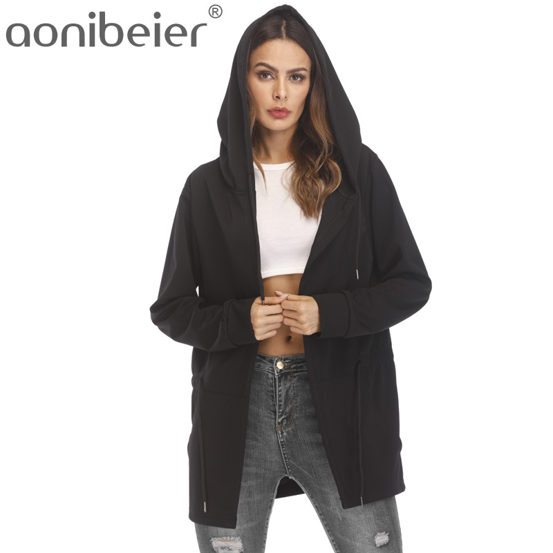 Aonibeier Women Hooded Sweatshirts With Black Gown Hip Hop Mantle Hoodies and long Sleeves Design Cloak Winter Coats Outwear ...