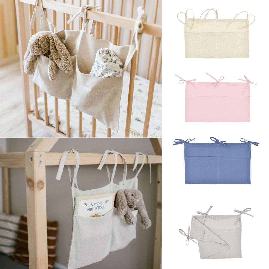 Baby Crib Hanging Organizer Rectangular Nursery Storage Cute Cotton Toddler Stroller Nursery And Diaper Storage Bag