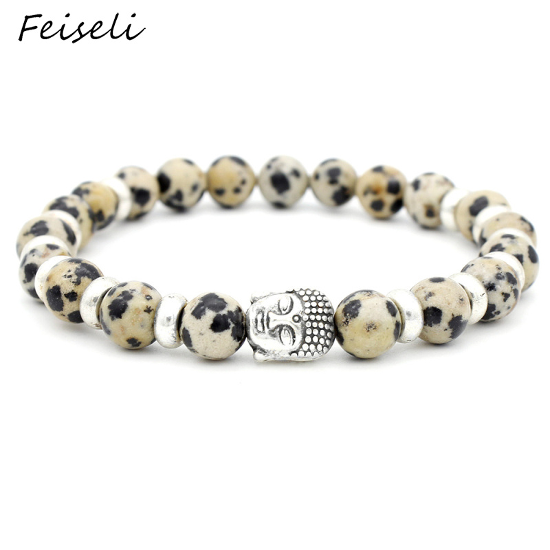 Feiseli Unique Design Buddha Head Buddhist Beaded Bracelet For Women High Quality Adjustable Natural Stone Bracelet Gift