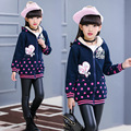 2016 Winter Coat Girl  Printed Dot Long-Sleeved Zipper  Thick Cotton Plus Velvet Outerwear & Coats