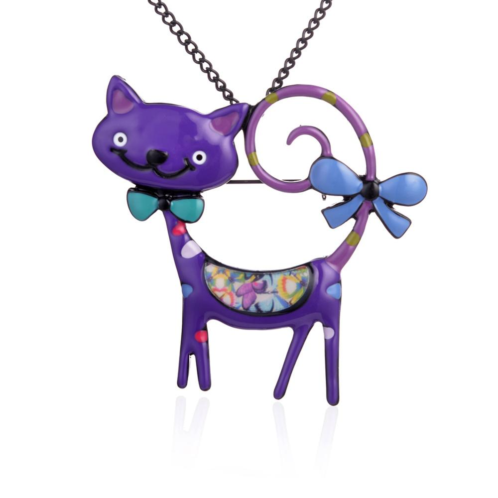 Cring Coco Purple Cat Woman Necklace Animal Womens Necklaces Pendant Trendy 2019 Fashion Long Black Metal Chain Jewelry for Girl in Chain Necklaces from Jewelry Accessories